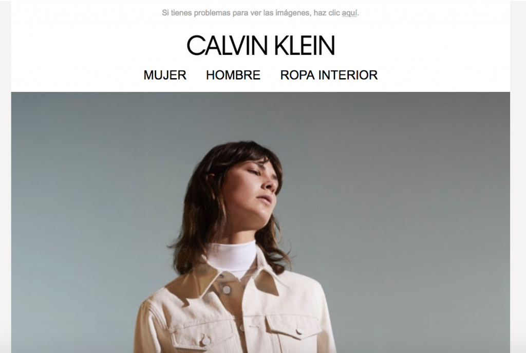 Campaña de email marketing de Calvin Klein