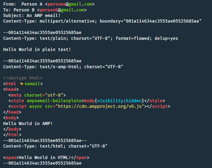 AMP codificacion email