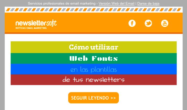 plantilla para newsletter compatible con fuentes de no sistema