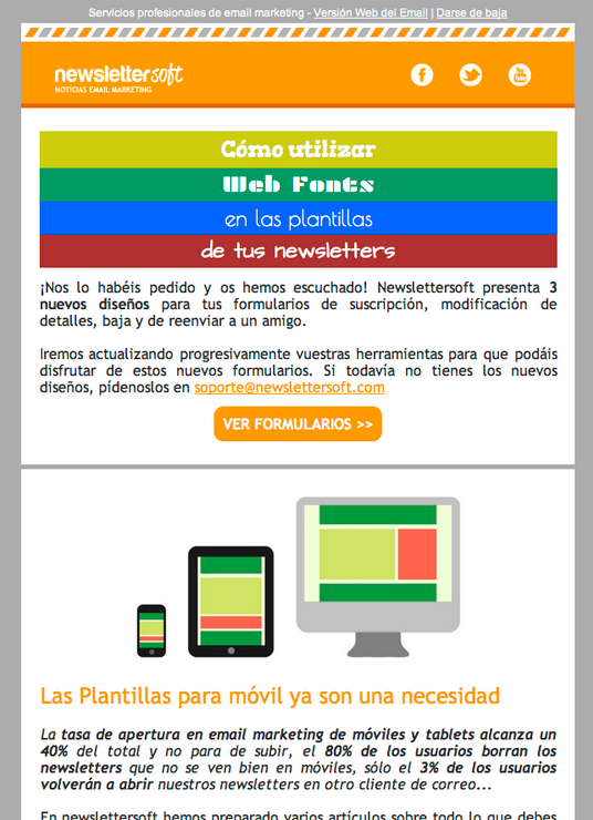 Plantilla de newsletter compatible con dispositivos móvil - apple mail