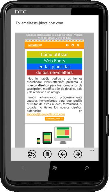 Plantilla de newsletter compatible con dispositivos móvil - android2.3