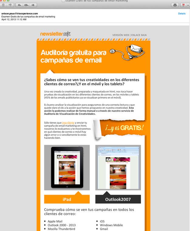 Plantilla de newsletter compatible con dispositivos móvil - android4.0