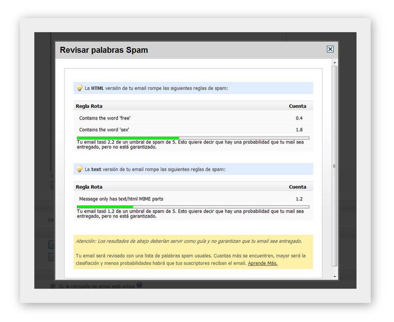Medir palabras Spam Herramienta email marketing de newslettersoft